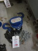 Liftingear HS-S 2 tonne chain hoist, serial no. 4720139 (2014) (Please Note: We do not hold any