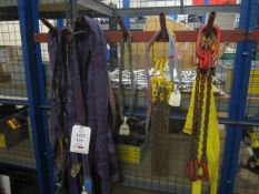 Quantity of assorted lifting straps and chains (Please Note: We do not hold any documentation for