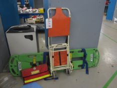 Combi Carrier II spiral book, Ferno collapsible patient chair, rescue stretcher, casualty blanket (