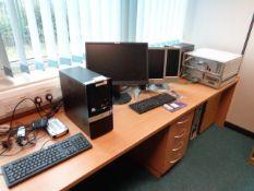 Two HP Pro 3010 MT desktop PC's, three various monitors, two assorted desktops (E4 simulator)
