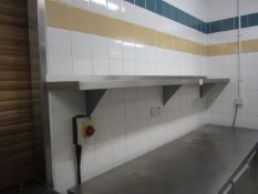 Two stainless steel shelves, 2350mm x 300mm / 1.8m x 300mm