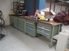 Two assorted size Bolt Multi drawer workbenches and assorted contents, to include electrical wire,
