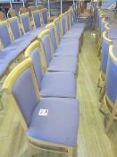Eight wood framed purple upholstered seat/back canteen chairs