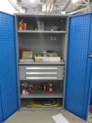 Bott compact steel 2 door/3 drawer cabinet with contents including ring and open end spanners,