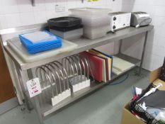 Stainless steel preparation table with undershelf, splash back, 2m x 650mm