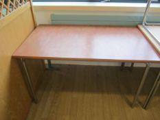 Four veneered top rectangular canteen tables, 1250mm x 760mm
