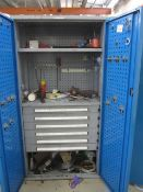 Bott steel 2 door/6 drawer cabinet with contents including pipe fittings, bolts, hand tools, etc.
