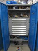 Bott compact steel 2 door/8 drawer cabinet with contents including air lines, hoses, pipe