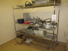 Bay of chrome 4 shelf storage racks, 800mm x 600mm - excluding contents