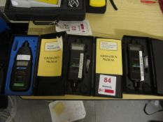 Three assorted tachometers to include two RS 163-5348 and a Lutron DT-2234B