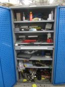 Bott compact steel cabinet with single drawer and contents including grease guns, oil can, various