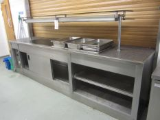 Unbadged stainless steel serving counter comprising 3 section Bain Marie, warming lamps, and hot