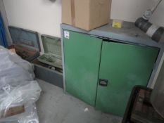 Steel farmed twin door cabinet and electrical component contents and twin steel framed tool chests