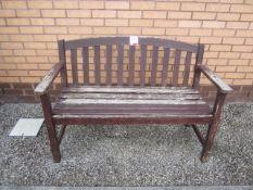 Timber framed slatted bench, 1250mm length