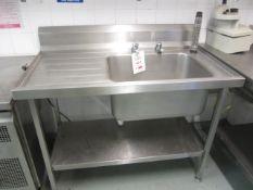Stainless steel freestanding twin deep bowl sink, drainer, splash back and undershelf, 1.2m x 700mm