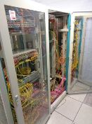 Three Rittal glass fronted cabinets and contents to include quantity of various fibre switches,
