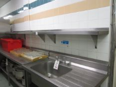 Two stainless steel shelves, 2250mm x 300mm / 1.2m x 300mm
