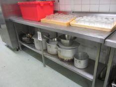 Stainless steel preparation table with undershelf, splash back, 2250mm x 650mm