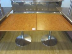 Three veneered square canteen tables, 900mm x 900mm