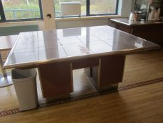Tiled top serving counter with under storage cupboards, 1550mm x 1.9m - Disconnection to be