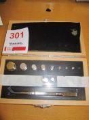 Fisherbrand calibration weights, cat no. FB51235, Class E2, s/n: 03-J61698-3, range 100g - 10mg