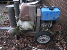 Unbadged twin outlet water pump, trailer mounted, spares or repairs
