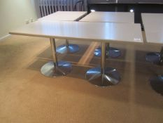 Two rectangular marble effect topped tables, 1750mm x 750mm