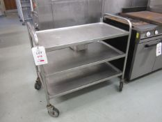 Two stainless steel 3 shelf trollies - excluding contents