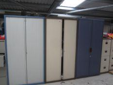 Five assorted sliding door storage filing cabinets