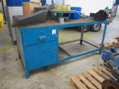 Steel workbench with under storage cupboard/drawer, 1900mm x 780mm and Record No 6 bench vice -