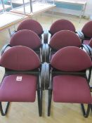 Six black frame upholstered meeting armed chairs