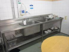 Stainless steel freestanding twin deep bowl sink with drawer, splash back, undershelf, 2.9m x 750mm