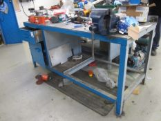 Steel workbenches, 1900mm x 770mm and Record No. 6 bench vice excluding contents
