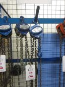 Two Liftingear 500kg chain hoists, model HSZ-A619, and CBlg, serial no. 16036870 & TL132090 (