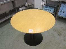 Three wood effect circular canteen tables, 1m dia