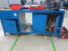 Steel workbench with under storage cupboard, 1850mm x 770mm and Record No 6 bench vice - excluding