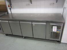 Polar stainless steel 4 door refrigerator with preparation worktop, 2230mm x 700mm x H850mm