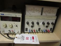 TTI EL302 power supply and a Farnell Instruments LT30-2 stabilised power supply