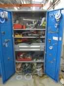 Bott steel 2 door/2 drawer cabinet with contents including assorted fittings, bolts, hand tools,