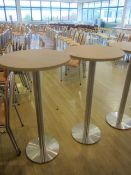 Two wood effect circular high canteen tables, 600mm dia