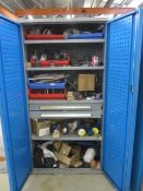 Bott steel 2 door/2 drawer cabinet with contents including bolts, fittings, etc.