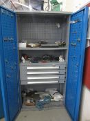 Bott compact steel 2 door/4 drawer cabinet with contents including pipe fittings, mallets, various