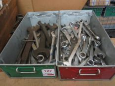 Quantity of assorted ring and open end spanners