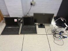 Two HP TFT 5600 RKM server rack laptop, Lenovo LCD monitor, two keyboard, mouse, HP Laserjet Pro