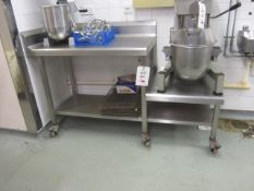Stainless steel mobile work station with step down, undershelf, splash back, 1.7m x 650mm