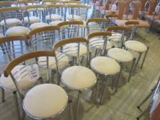 Ten chrome frame upholstered seat canteen chairs