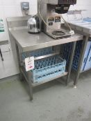 Two stainless steel preparation tables with splash back, undershelf 750mm x 650mm / 880mm x 650mm