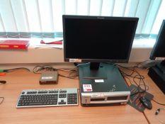 Compaq desktop PC, Lenovo flat screen monitor, keyboard, mouse