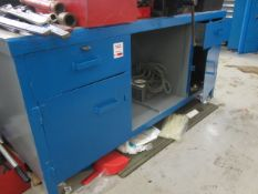 Steel workbench with under storage cupboard, 1800mm x 700mm and Record No 6 bench vice - excluding