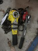 One Yale Uno 0.75 tonne lever hoist, serial no. 81012586 (2008) and a Liftagear 500kg lever hoist,